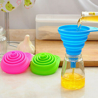 2X New Mini Silicone Gel Foldable Collapsible Style Funnel Hopper Kitchen Tool E
