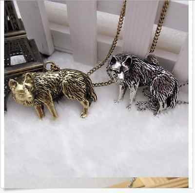 wholesale 1/5/10pcs silver bronze plated Wolf charms necklace pendant 700mm