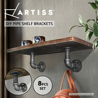Artiss Rustic Vintage Mount Bracket Set Industrial DIY Pipe Shelf Display Wall