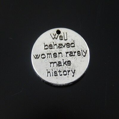 20X Vintage Style Silver Tone History Words 14mm Round  Pendant Charms