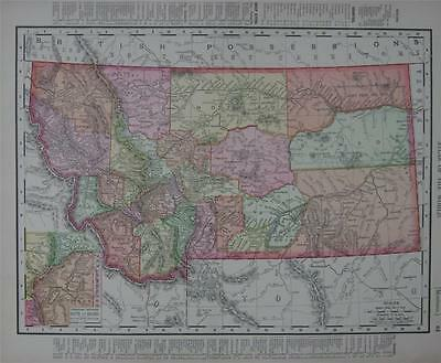 1898 Montana Antique Dated Color Atlas Map*  Idaho on back ...118 years-old!!