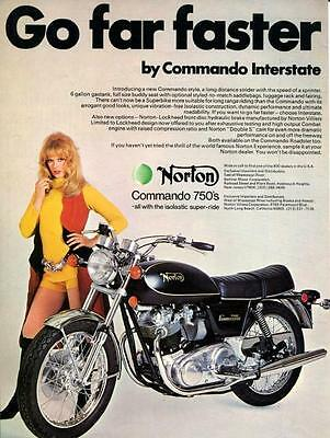 "1972 Norton Commando 750 Motorcycle ""Go Far Faster"" Original Color Ad"