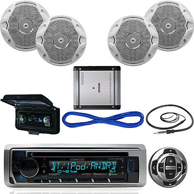 """JBL Boat 6.5"""" Speakers/Wires,Bluetooth USB CD Receiver,Remote, Amp,Antenna,Cover"""