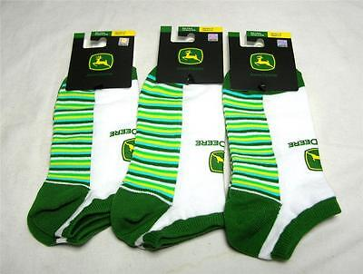 3 Pair John Deere Ladies Low Cut Ankle Socks Shoe Size 4-10 Green Striped A-14
