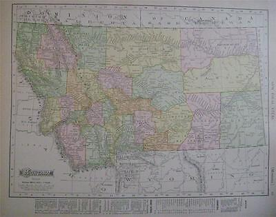 1910 Montana Original Dated Color Atlas Map* Idaho map on back  110 yrs-old!