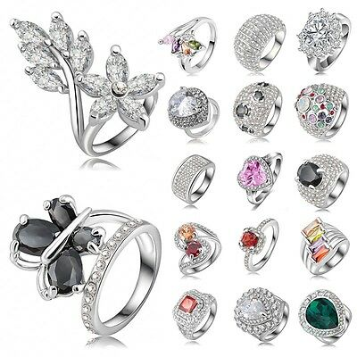 Hot Fashion Jewelry 925 Sterling Silver Crystal Rhinestone Wedding Engaged Ring