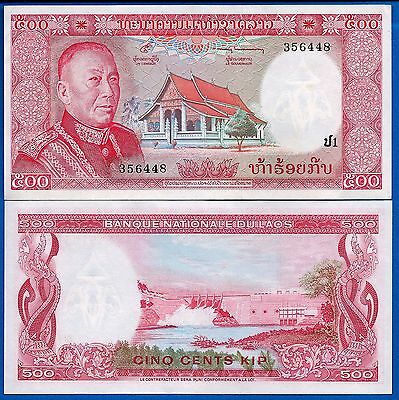Laos P-17 500 Kip Year ND 1974 King Uncirculated Banknote FREE SHIPPING