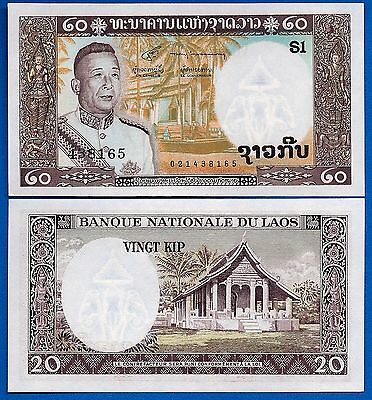 Laos P-11 20 Kip ND 1963 Uncirculated Banknote FREE SHIPPING