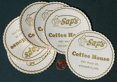 1960s Era Columbus,Indiana Sap's Donuts Coffee House 11-ELEVEN paper coaster set