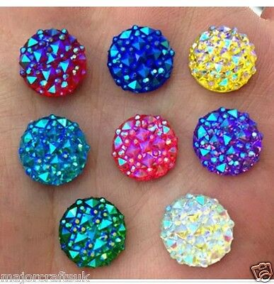 40pcs Mixed AB 12mm Flat Back Round Resin Rhinestones Embellishment Craft Gems