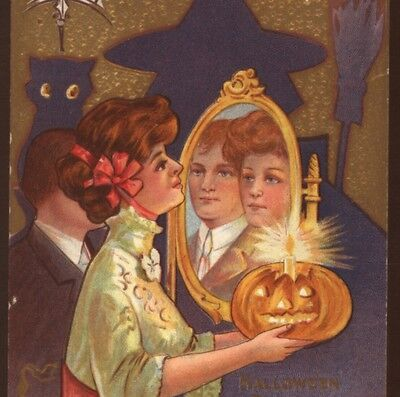 "Scarce Halloween Advertising..lady Plays ""lover In Mirror"" Superstition,postcard"