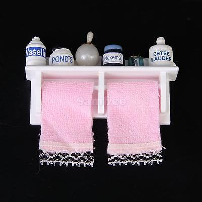 1/12 Dolls House Miniature Bathroom Accessory Towel Rack Makeup Cosmetic Set