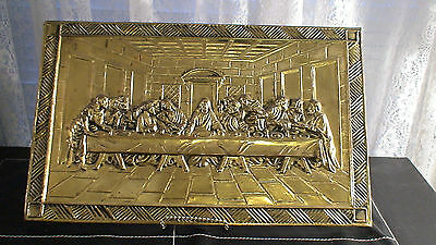 Vintage Etched 3D The Last Supper Wall Brass Wall Hanging Made In England Mint