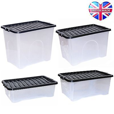 Large Plastic Storage Clear Underbed Box Strong Tough Stackable Container