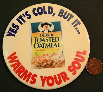 """1970-80s Era Quaker Toasted Oatmeal Cereal Warms Your Soul 4"""" cello pin-VINTAGE!"""