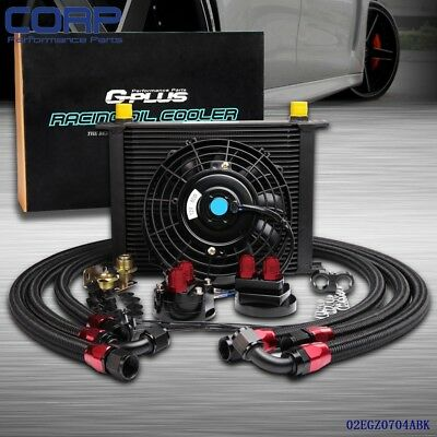 """Universal 30 Row Engine Transmission 10an Oil Cooler Kit+ 7"""" Electric Fan Kit"""