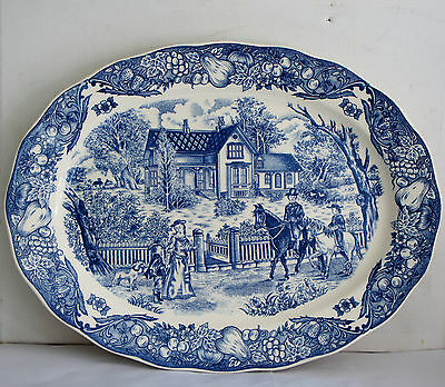 E Vintage Unmarked  Blue And White Porcelain Large Plate