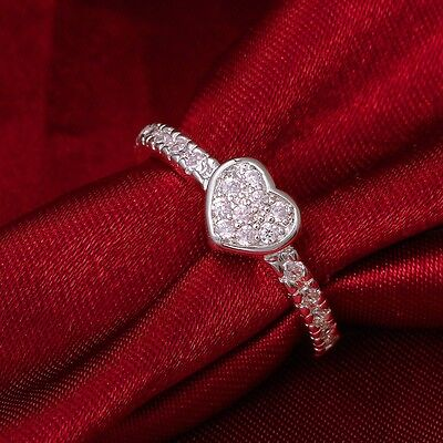 Size 7/8 White CZ Heart Shaped Ring Wedding Band Women's 925 Silver Jewelry Gift