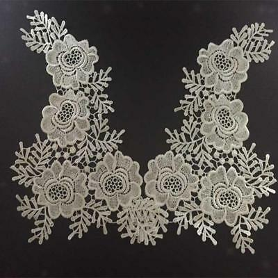 Pair Mirror Flower Motif Sewing Craft Applique White Fabric Venise Lace Trim