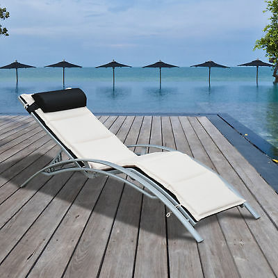 Garden Outdoor Sun Lounger Pool Adjustable Recliner Reclining Chair With Cushion