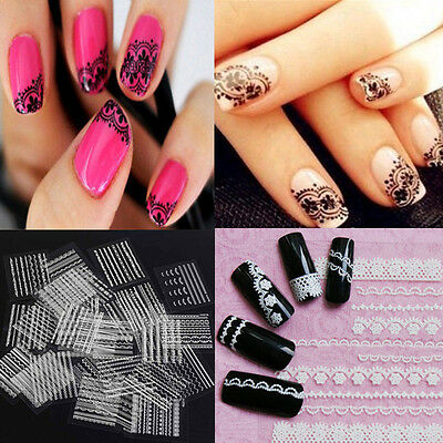 30 Sheet 3D Lace Black White Nail Art Tips Stickers Manicure Decal Decoration