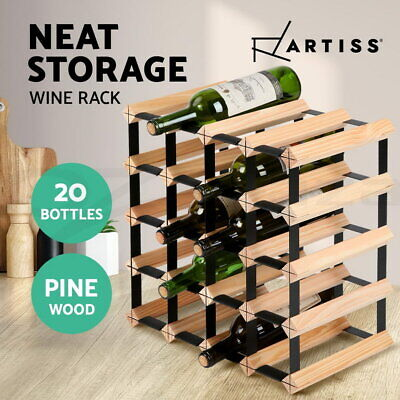 Artiss 20 Bottle Wine Rack Timber Storage Wooden Racks Bottle Glass Holder