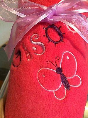Personalised Funky Butterfly Embroidered Fleece Baby Blanket, Gift 10 Colours
