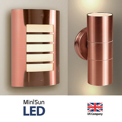 Modern Stainless Steel / Copper LED Outdoor Garden Flush / Up & Down Wall Lights