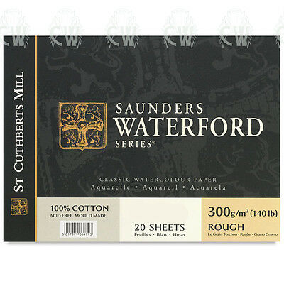 "Saunders Waterford Artists Watercolour Paper Block 12""x16"" ROUGH Surface"