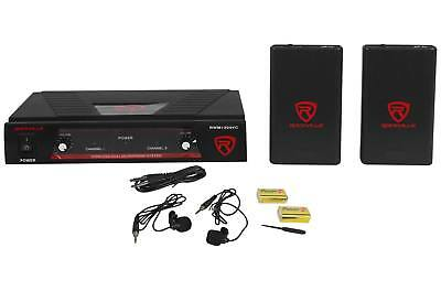 Rockville RWM1204VC VHF Wireless Dual Lavaliere/Clip-On Microphone Mic System