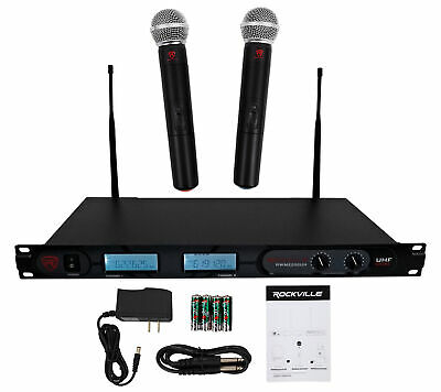 Rockville RWM2200UH UHF Wireless Pro Rack Mount Dual Microphone System w/Display