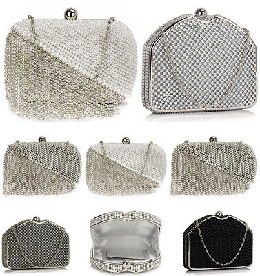 Women's Diamante Pearl Clutch Evening Purse Handbags For Wedding Prom Bridal