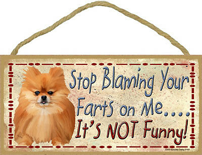Pomeranian Red Dog Stop Blaming Your Farts On Me Wood SIGN Plaque USA Made