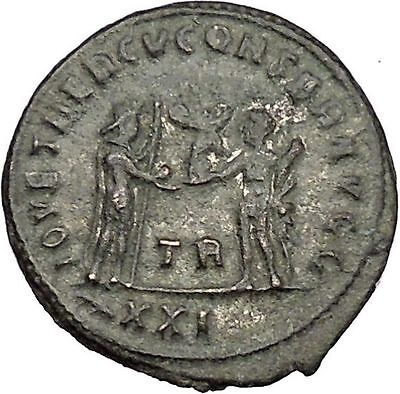 DIOCLETIAN receiving Victory Tripolis mint 285AD Rare  Ancient Roman Coin i51081