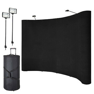 8' Black Pop Up Trade Show Display Fabric Booth Curved Exhibit Banner Spotlights