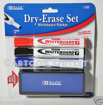 BAZIC DRY ERASE MARKERS 3 COLORS WHITE BOARD MARKERS OFFICE SCHOOL CHISEL TIP st