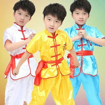 New Girl Boy Chinese Kung Fu Uniform Tai Chi Martial Arts Suit Kid Dance Costume