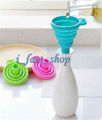 Kitchen Gadget Silicone Collapsible Foldable Funnel Hopper for Liquid Transfer i