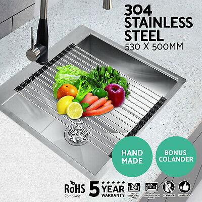 Cefito 530x500mm Stainless Steel Under/Topmount Kitchen Sink Roll Mat Laundry