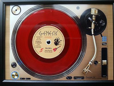 GENESIS 7'' Red Single Promo copy playing on a turntable Memorabilia Frame,New
