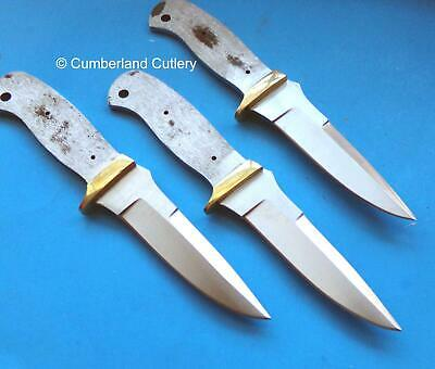 Lot of 3 Knife Making Blade Blanks with brass guards - Custom Hunting Skinning