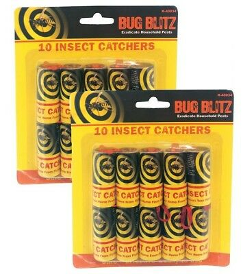20 x Sticky Fly Bug Wasp Insect - Poison Free Paper Trap Catchers Traps