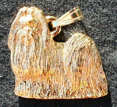 SHIH TZU Show Cut Dog 24K Gold Plated Pewter Pendant Jewelry USA Made