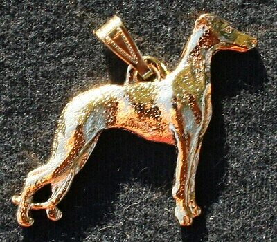 WHIPPET Dog 24K Gold Plated Pewter Pendant Jewelry USA Made