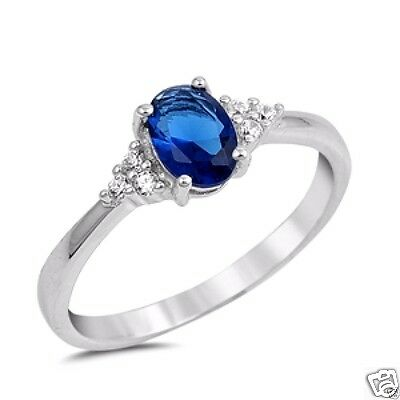 New 925 Sterling Silver Blue Sapphire D-Shape Wedding Engagement Ring R1205Sz 10
