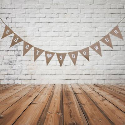 2.8M Rustic BABY SHOWER Hessian Burlap Bunting Flags Banner Party Decoration