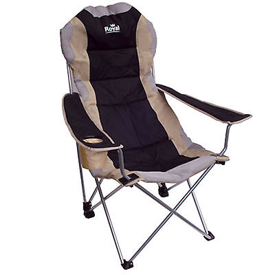 Royal Adjustable Padded Folding Chair Beige Black 3 Positions Camping