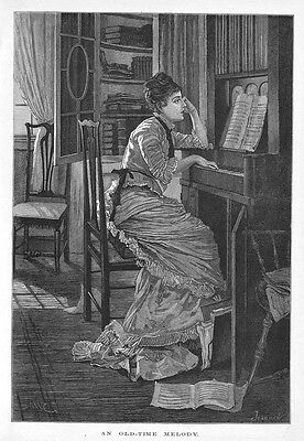 An Old Time Melody, Victorian Lady at Piano - Antique Print 1881