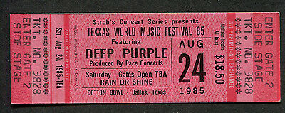 1985 Texxas World Music Concert Unused Ticket Deep Purple Scorpions Bon Jovi Jam