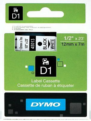 "Genuine DYMO 45013 Labeling Tape, ½"" x 23', Black Print on White Tape D1"